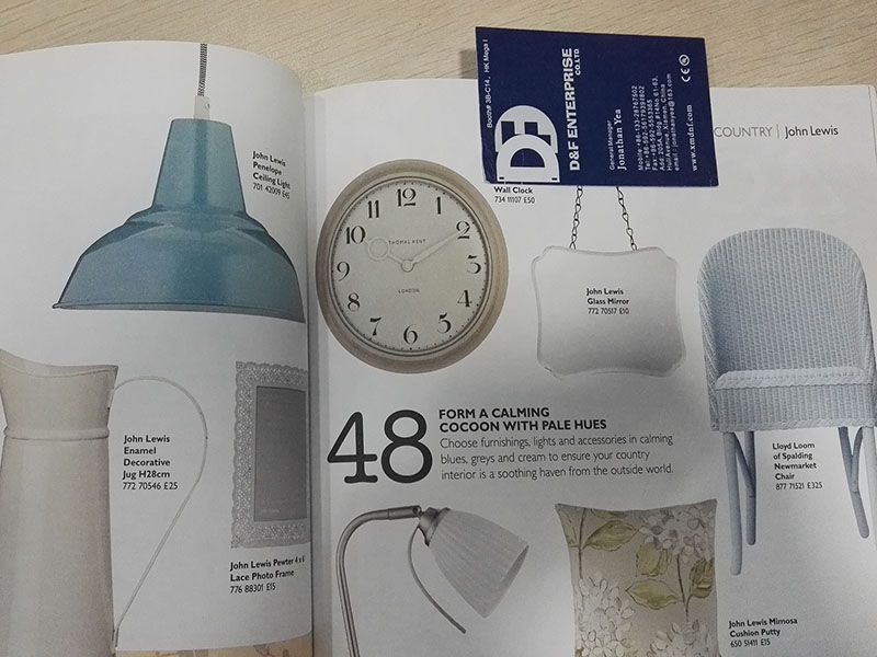 our clock in John Lewis' catalog