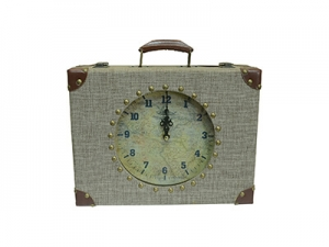 Suitcase Decorative Wooden Mantel Clock in Vintage Style