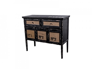 36 Inches Black Wooden Table with 2 Drawers in Vintage Style